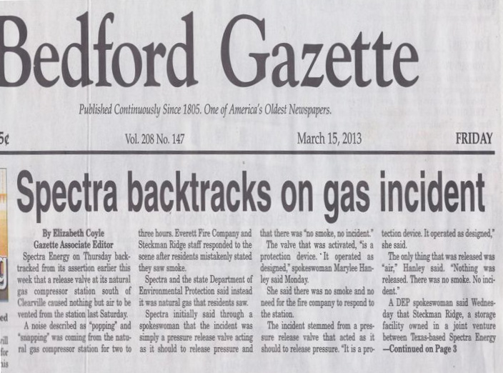 Spectra Backtracks Bedford Gazette Front Page